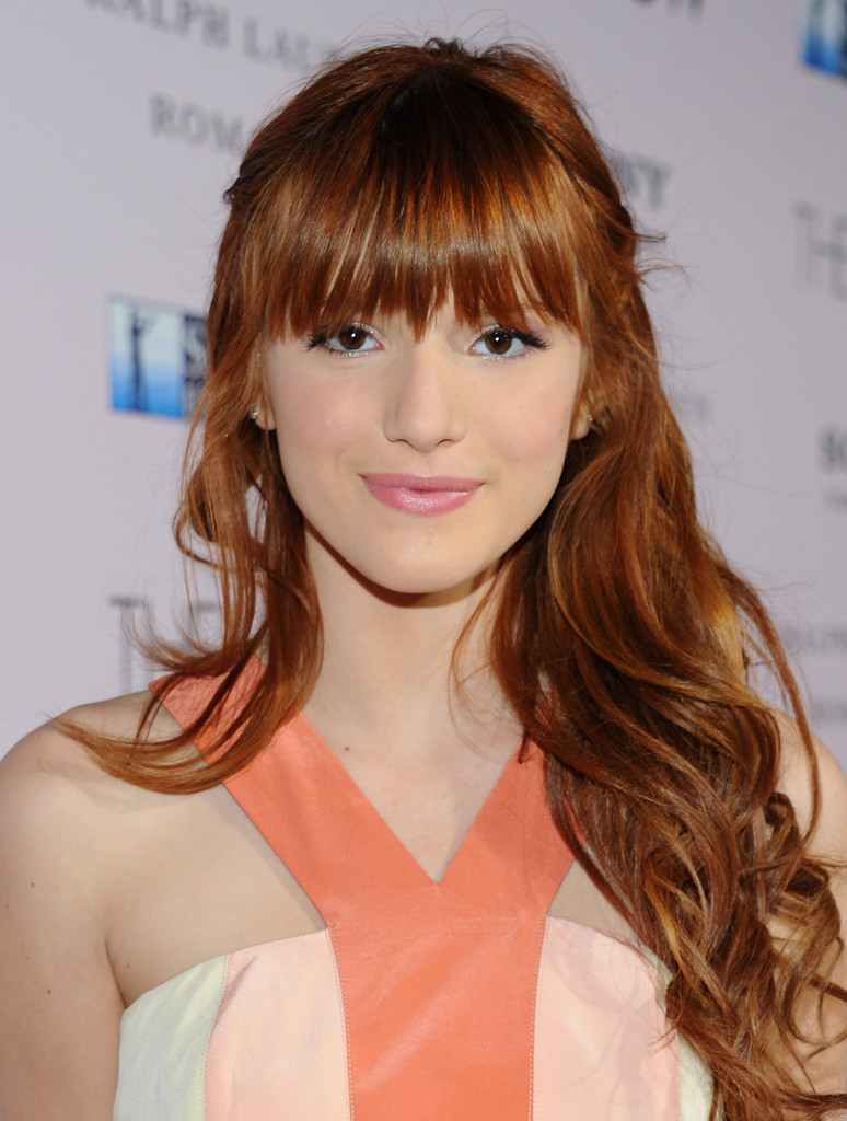 Bella Thorne Long Curly Hairstyles With Bangs