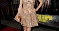 Cute Anna Kendrick Gold Cocktail Dress