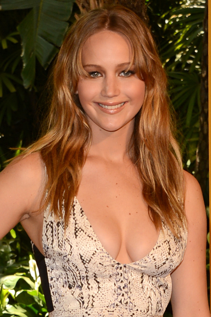 Jennifer Lawrence Long Wavy with Bangs Hairstyles