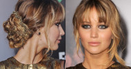 Jennifer Lawrence Twisted Bun Hairstyles