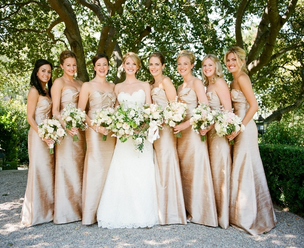 White and Gold Bridesmaid Dresses
