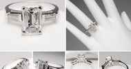 emerald cut diamond engagement rings with baguettes