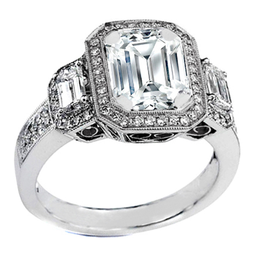 emerald cut diamond engagement rings with side stones