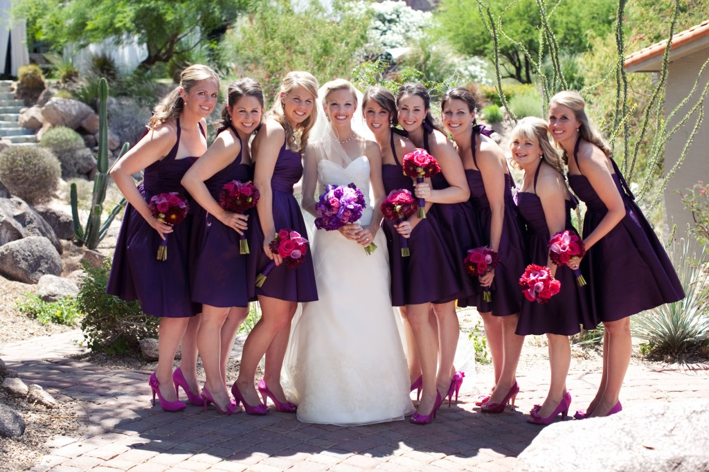 short dark purple bridesmaid dresses