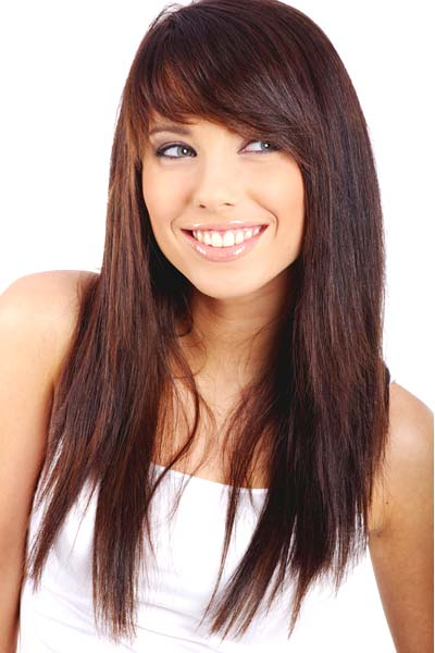 Long Straight Hairstyles with Side Bangs and Layers