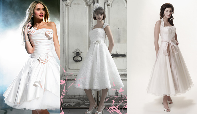 Simple Tea Length Wedding Dresses