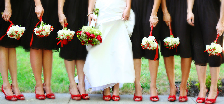 black with red bridesmaid dresses