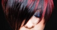 black hair with color highlights
