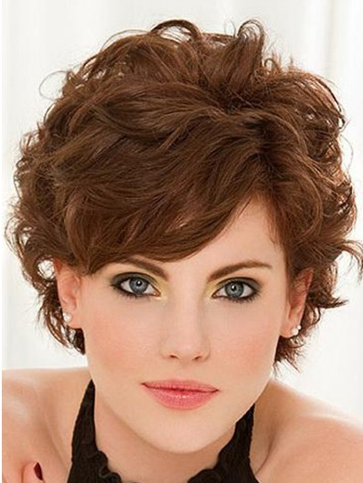 short curly hairstyles with bangs