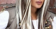 dark brown hair with white blonde streaks