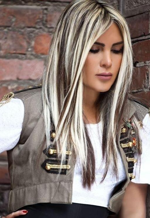Dark Brown Hair With White Blonde Streaks Fashion Trends